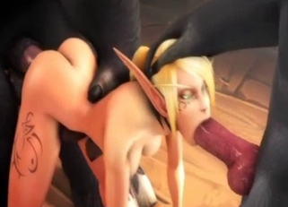3D demons fuck a big-boobed blonde