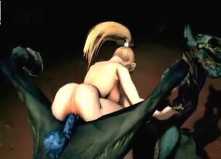 Amazing blonde jumps on a huge demon dick